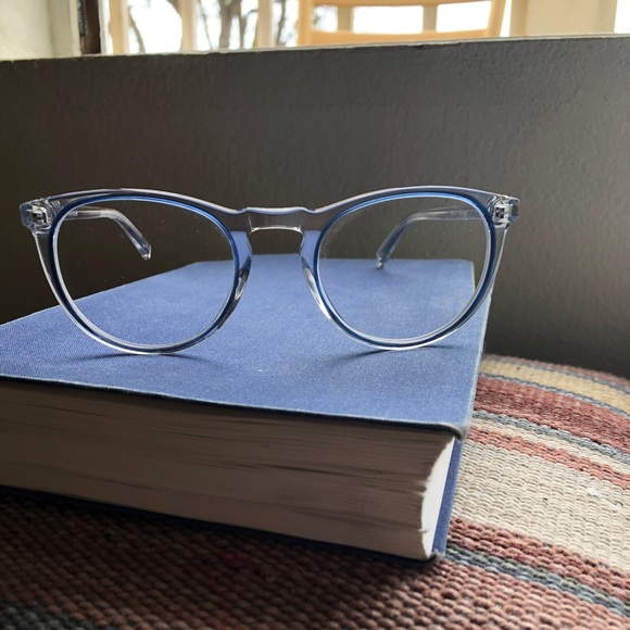661b736b0e Warby Parker Accessories - Warby Parker - Haskell in Crystal with Blue Jay